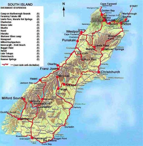 pictures   zealand south island map