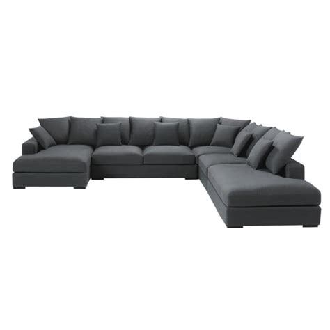 canapé d angle convertible 7 places canapé d 39 angle modulable 7 places en coton gris loft