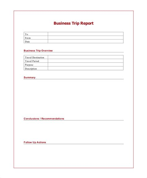 Sales Trip Report Template Word