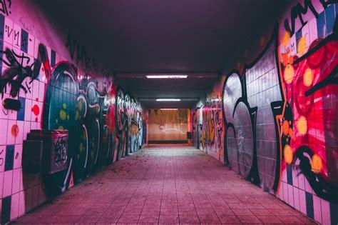 images subway red color graffiti art corridor
