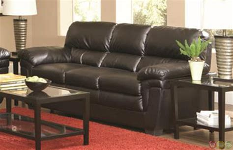 faux leather living room set fenmore black faux leather plush contemporary living room