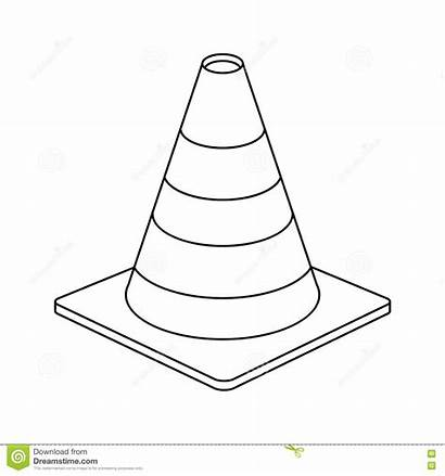 Clipart Cone Traffic Outline Sign Warning Construction