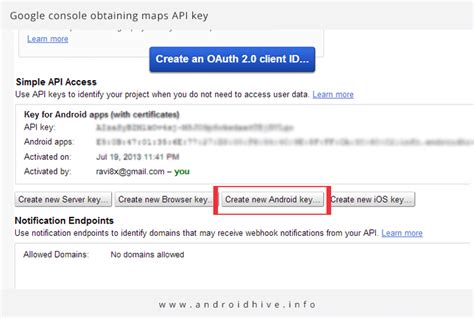 Console Api Key by Android Maps V2 Tutorial
