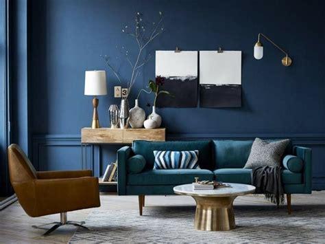 Salon Avec Mur En Bleu Canard Et Canapé En