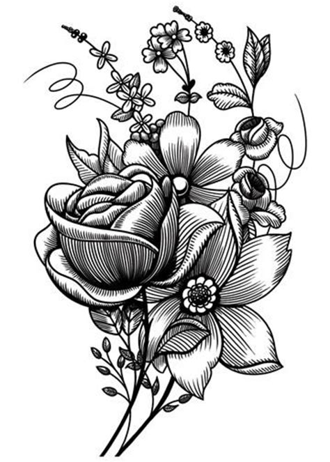 Sketch Mixed Flowers - Vintage Floral Temporary Tattoo