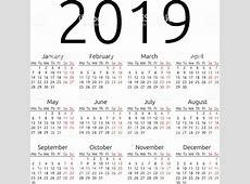 Simples Vetor Calendário 2019 Vetor e Ilustração Royalty