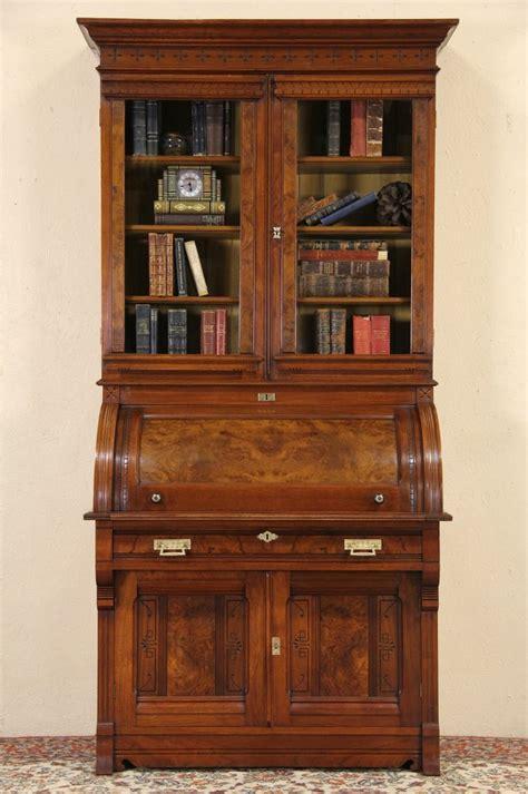 sold victorian eastlake  cylinder roll top secretary