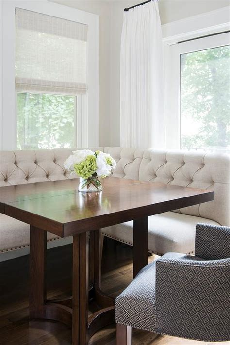 square kitchen table with bench ivory linen tufted dining banquette with square dining