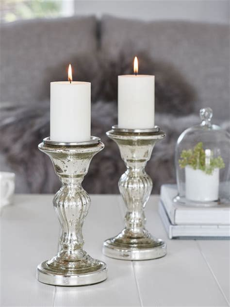 silver candle holders mercury silver pillar candle holder m