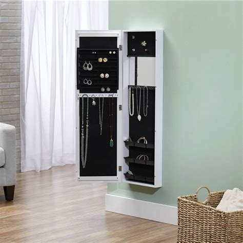 the door mirrored jewelry armoire jewelry armoire mirror storage cabinet organizer wall door