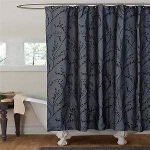 Lush decor flower texture gray shower curtain for Gray curtains texture