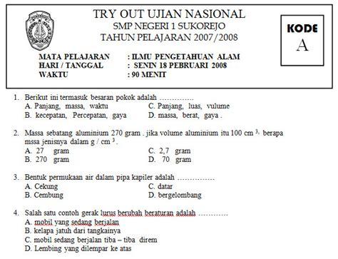 tryout ujian nasional smp pelajaran ipa soalujian net