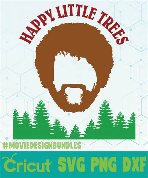 bob ross happy  trees logo tv show svg png dxf