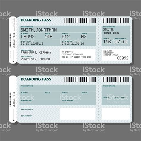 blank airport boarding pass template stock illustration