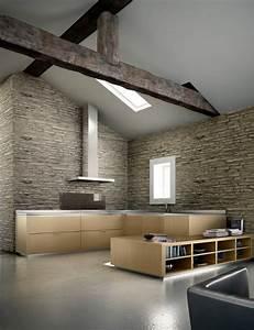 interieur avec des murs en pierre et une cuisine design With mur en pierre interieur design