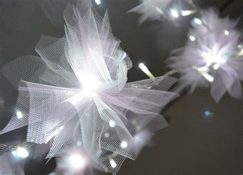 diy tulle flower fairy lights    fairy lights