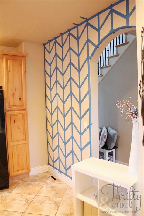 painted herringbone accent wall  scotchblue painters