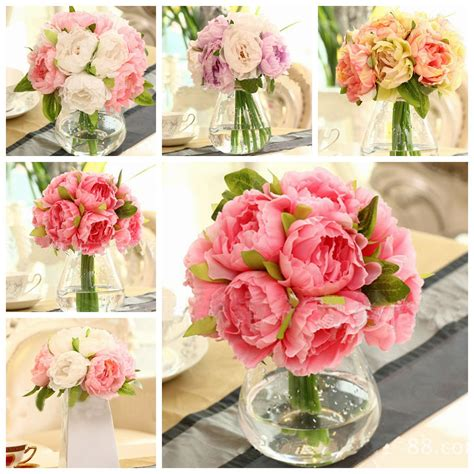 heads artificial silk flower peony wedding bouquet