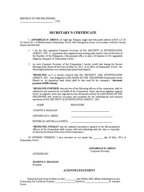 secretarys certificate opening acct efps virtue justice