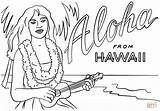 Hawaii Coloring Hawaiian Ukulele Pages Printable Aloha Lei Books Drawing Crafts Comments Themed sketch template