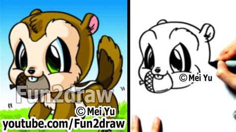 easy cartoon drawings   draw animals chipmunk