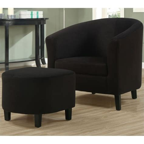 padded micro fiber accent barrel chair and ottoman in