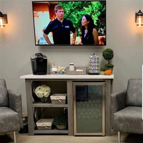Everyone wants to be surround of comfortable and cozy space, which reflects our essence. Rustic X Coffee Bar / Rustic X Farmhouse Coffee Bar / Mini Fridge Table / Dining Bar / Farmhouse ...