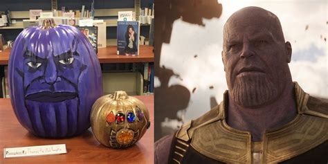 pumpkin painted  thanos  inspired  hilarious