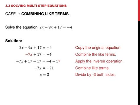 33 Solving Multistep Equations