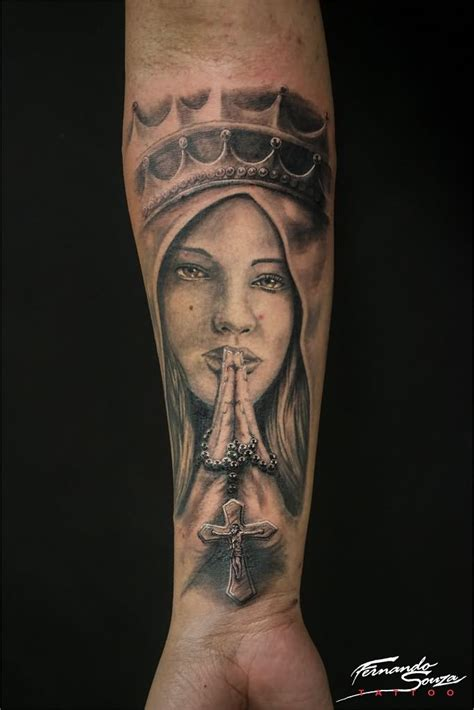 rosary cross  saint mary hand tattoo  forearm