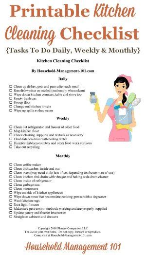 kitchen cleaning checklist daily weekly  monthly