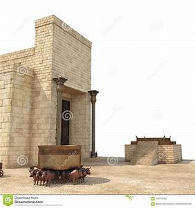 King Solomon`s Temple With Large Basin Call Brazen Sea And ...