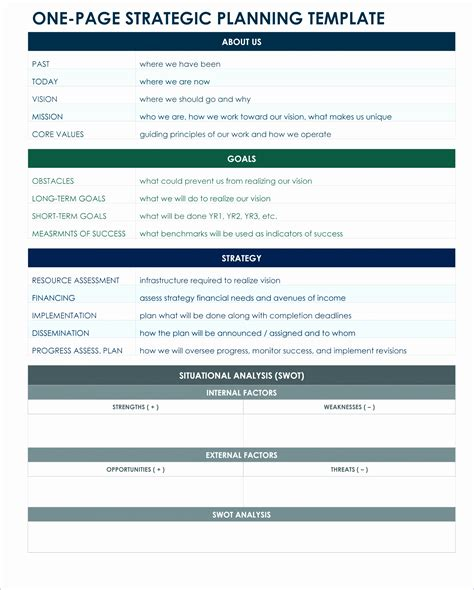 one page strategic plan template 8 website project plan template excel exceltemplates exceltemplates
