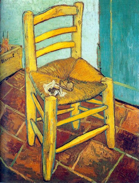 la chaise gogh vincent s chair with his pipe painting avincent gogh