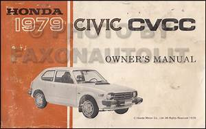 1979 Honda Civic Cvcc Repair Shop Manual Original