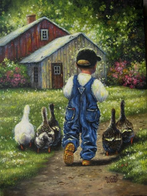 boy blue print vickie wade art farm boy art ducks