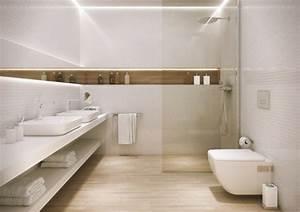 carrelage salle de bain imitation bois 34 idees modernes With salle de bain blanche et bois