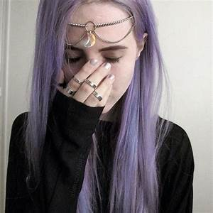 indie aliencreature purple hair style cute moon rings ...