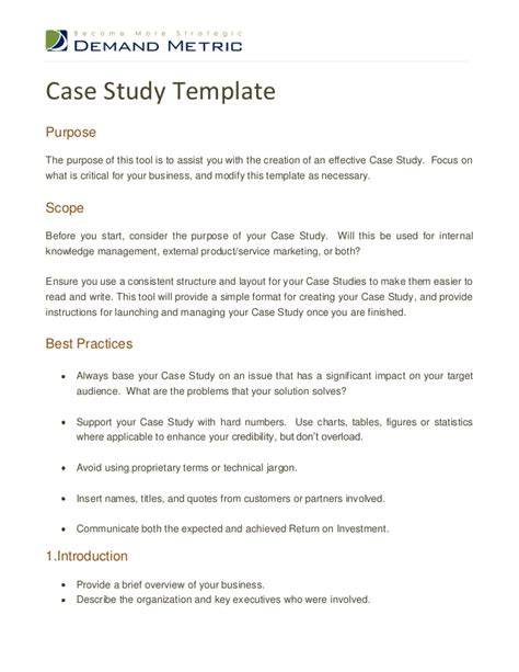 Know the strategy and action plan to handle case studies. Case study template