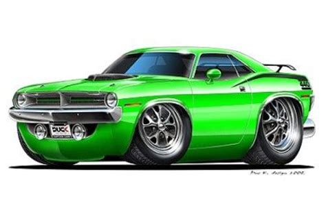 plymouth cuda muscle car cartoon art print muscle cars