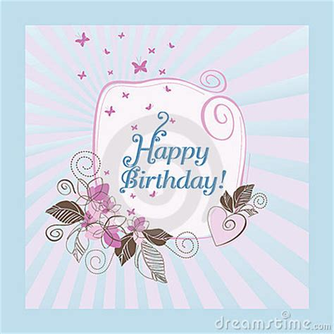 blue  pink happy birthday card stock images image