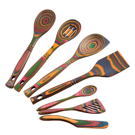 colorful kitchen utensils island bamboo pakka 7 rainbow utensil set 41263 2356