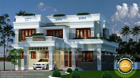 Decorative Flat Roof Home Plan  Kerala Home Design And