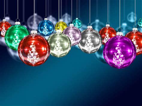christmas decorations colorful balls blue desktop