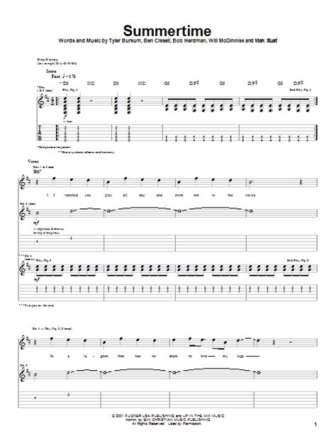 Audio Adrenaline Floor Chords by Summertime By Audio Adrenaline Guitar Tab Guitar