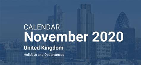 november  calendar united kingdom
