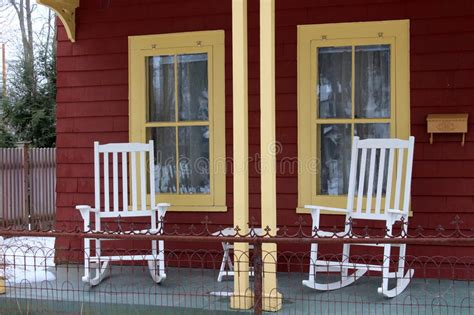 white rocking chairs  front porch stock photo image