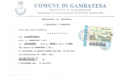 Comune Di Roma Ufficio Stato Civile by Certificato Di Residenza Anagrafe Agsimplex