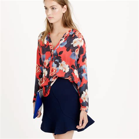 jcrew blouses j crew collection silk blouse in graphic peony lyst
