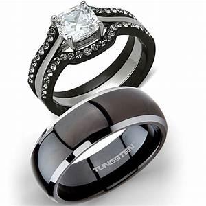 His Tungsten Hers 4 Pc Black Stainless Steel Wedding
